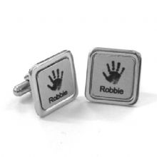 Square Silver Coloured Handprint or Footprint Cufflinks - First Christmas Keepsake Gift